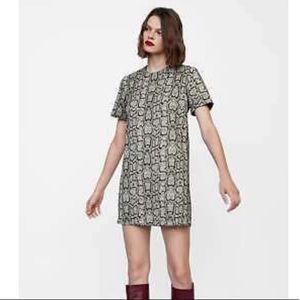 New Zara Snakeskin Print Jacquard Shift Dress sz L